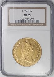 1799 $10 Small Stars Obverse AU55 NGC