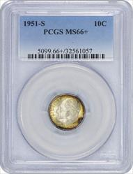1951-S Roosevelt Dime MS66+ PCGS Toned