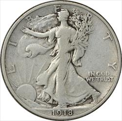1918-P Walking Liberty Half Dollar Choice F Uncertified