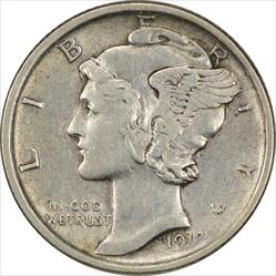 1918-D Mercury Dime EF Uncertified