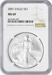 2001 $1 American Silver Eagle MS69 NGC