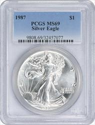 1987 $1 American Silver Eagle MS69 PCGS
