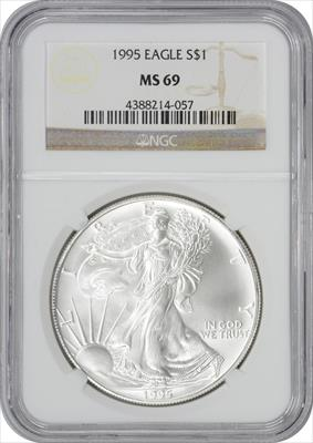 1995 $1 American Silver Eagle MS69 NGC