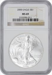 2000 $1 American Silver Eagle MS69 NGC
