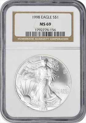 1998 $1 American Silver Eagle MS69 NGC