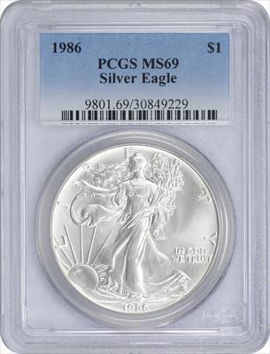1986 $1 American Silver Eagle MS69 PCGS