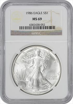 1986 $1 American Silver Eagle MS69 NGC