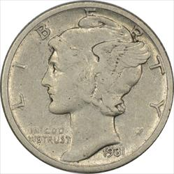 1931-D Mercury Dime EF Uncertified