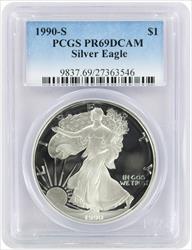 1990-S $1 American Silver Eagle PR69DCAM PCGS