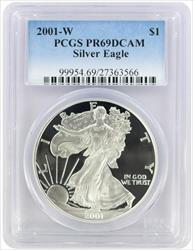 2001-W $1 American Silver Eagle PR69DCAM PCGS