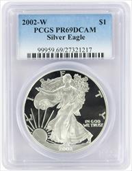 2002-W $1 American Silver Eagle PR69DCAM PCGS