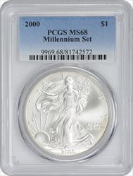 2000 $1 American Silver Eagle MS68 Millennium Set PCGS