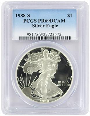 1988-S $1 American Silver Eagle PR69DCAM PCGS