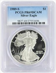 1989-S $1 American Silver Eagle PR69DCAM PCGS