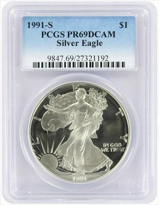 1991-S $1 American Silver Eagle PR69DCAM PCGS