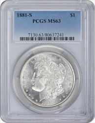 1881-S Morgan Silver Dollar MS63 PCGS