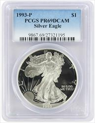 1993-P $1 American Silver Eagle PR69DCAM PCGS