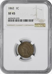 1862 Indian Cent EF45 NGC