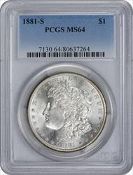 1881-S Morgan Silver Dollar MS64 PCGS