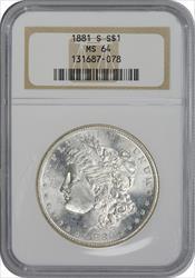 1881-S Morgan Silver Dollar MS64 NGC