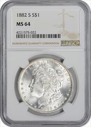 1882-S Morgan Silver Dollar MS64 NGC