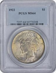 1922-P Peace Silver Dollar MS64 PCGS Very Soft Golden Toned