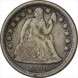 1859-O Liberty Seated Dime EF Uncertified