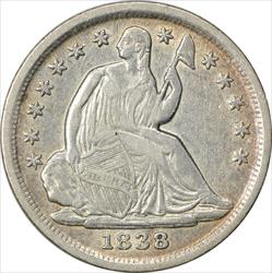 1838 Liberty Seated Half Dime No Drapery Large Stars EF Uncertified
