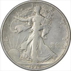 1918-D Walking Liberty Half Dollar VF Uncertified