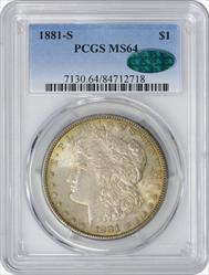 1881-S Morgan Silver Dollar MS64 PCGS (CAC) Golden Red with Green Toning Reverse