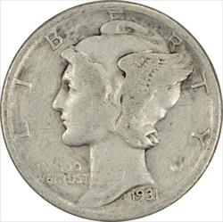 1931-D Mercury Dime VG Uncertified