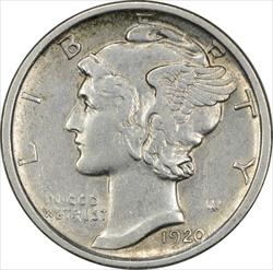 1920-D Mercury Dime EF Uncertified