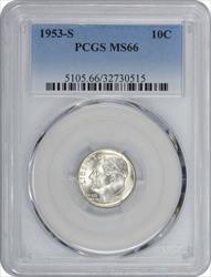 1953-S Roosevelt Dime MS66 PCGS Toned
