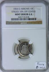1854-O Arrows Seated Dime 10% Off-Center Mint Error NGC G-4; Rare O-Mint!