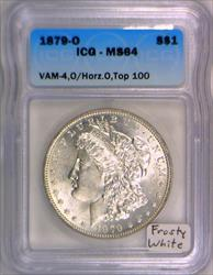 1879-O Morgan Dollar ICG MS-64; Vam-4, O/Horizontal O, Top 100; Frosty White!