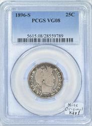 1896-S Barber Quarter PCGS VG-08, Nice Original Key!
