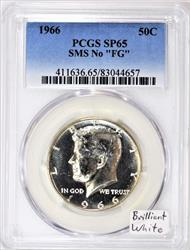"1966 SMS No ""FG"" Kennedy Half Dollar PCGS SP-65; Brilliant White"