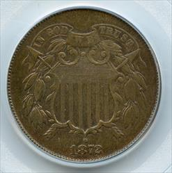 1872 Shield Two Cents, PCGS AU50, OGH, Key Date!