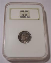 1955 Roosevelt Dime MS67 NGC