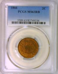1866 Two Cent PCGS MS-63 RB