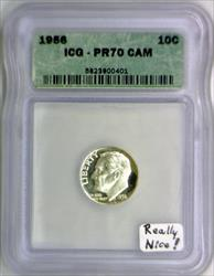 1956 Proof Roosevelt Dime ICG PR-70 CAM; Really Nice!
