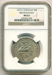 Germany Weimar Republic Silver 1927 A 3 Mark Bremerhaven Anniversary MS62 NGC