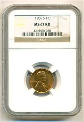 1939 S Lincoln Wheat Cent MS67 RED NGC