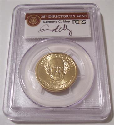 2008 Martin Van Buren Presidential Dollar Missing Edge Lettering Error MS66 PCGS Moy Signed Label