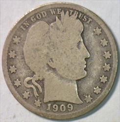 1909-O Barber Quarter; Choice Original G-VG