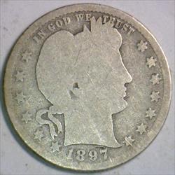 1897-S Barber Quarter; G/Fair; Scarce!