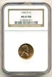 1959 D Lincoln Wheat Cent MS67 RED NGC