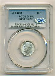 1951 D/D Roosevelt Dime RPM FS-501 MS66 PCGS QA Check Sticker