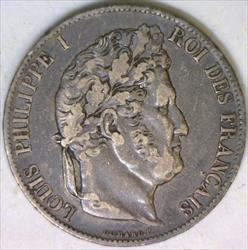 1846-A France Silver Five Francs; XF; Choice Original