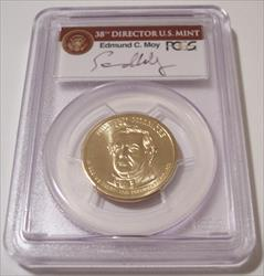 2010 Millard Fillmore Presidential Dollar Missing Edge Lettering Error MS67 PCGS Moy Signed Label